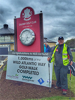 Success! Cancer survivor Nick Edmund completes part one of his charity golf trek